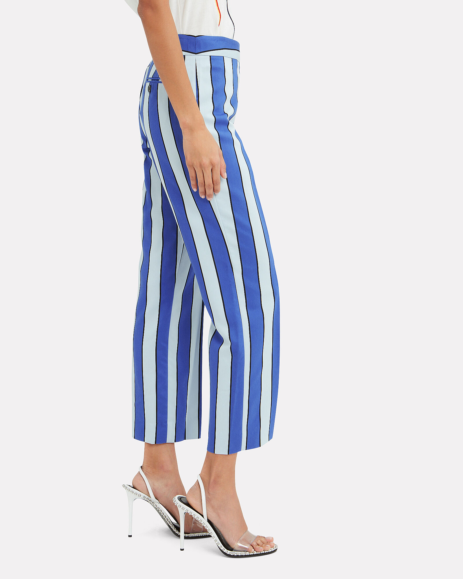 Striped Crop Trousers, BLUE-MED, hi-res