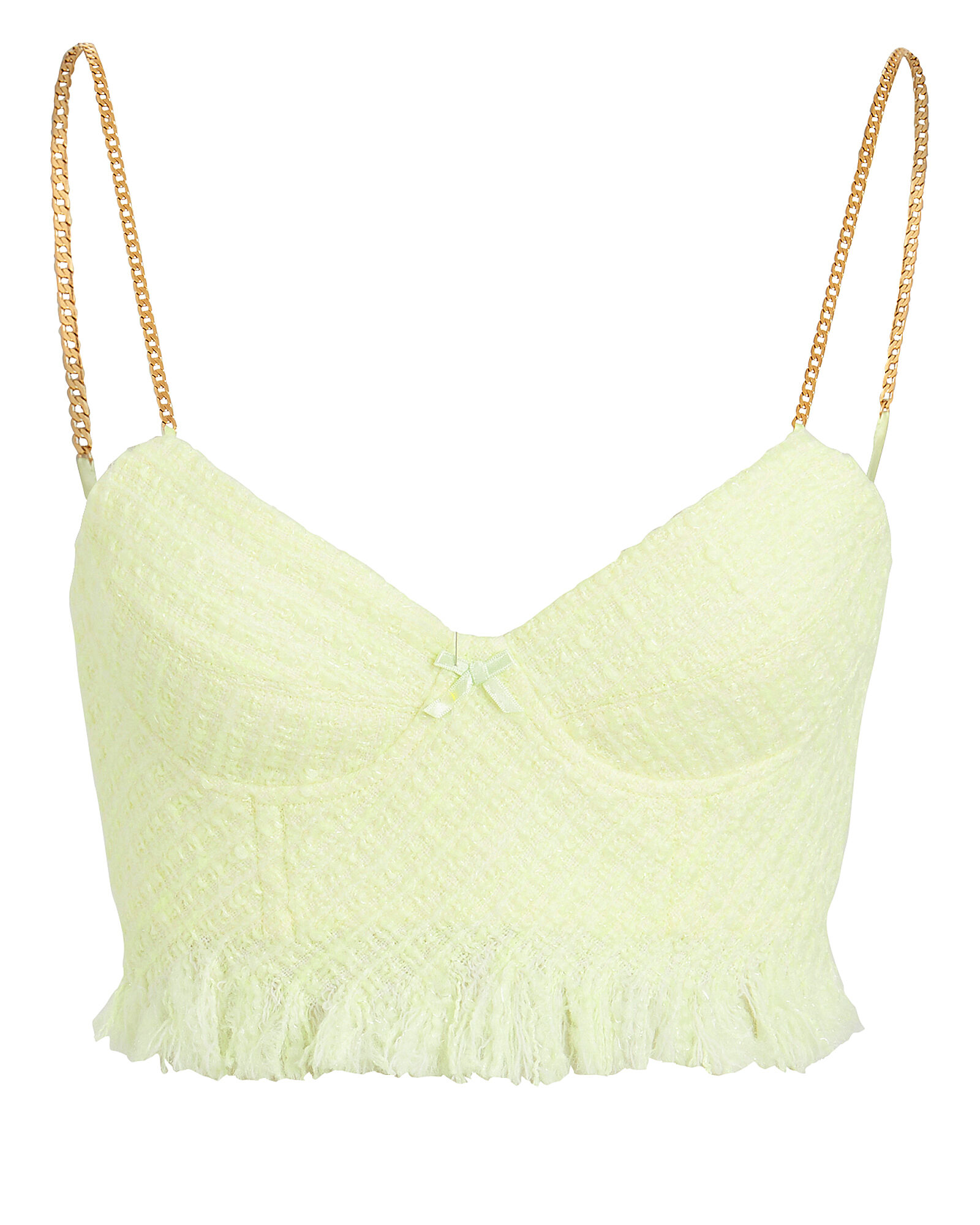 Frayed Tweed Bandeau Top, NEON YELLOW, hi-res