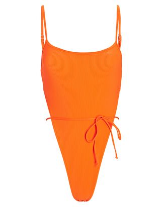 Croft Rib Knit One-Piece Swimsuit, ORANGE, hi-res