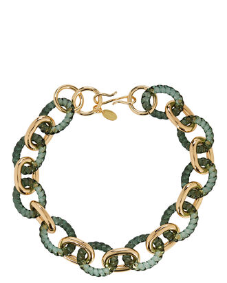 Mirrored Sea Chain-Link Necklace, GREEN/GOLD, hi-res