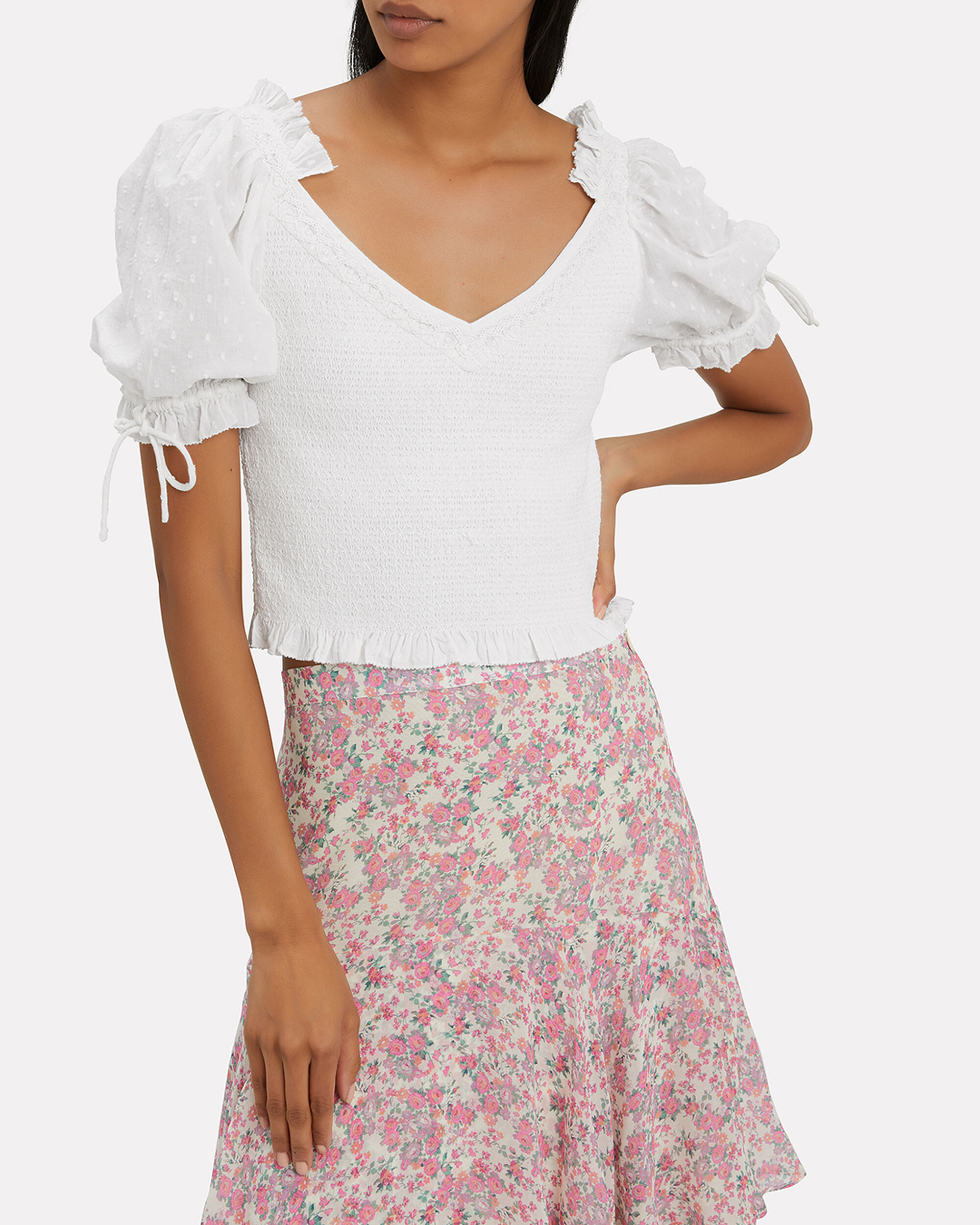 Tilly Smocked Top, WHITE, hi-res