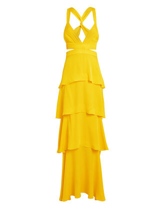 Lita Cutout Column Gown, YELLOW, hi-res
