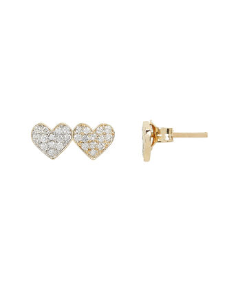 Small Double Heart Studs, GOLD, hi-res