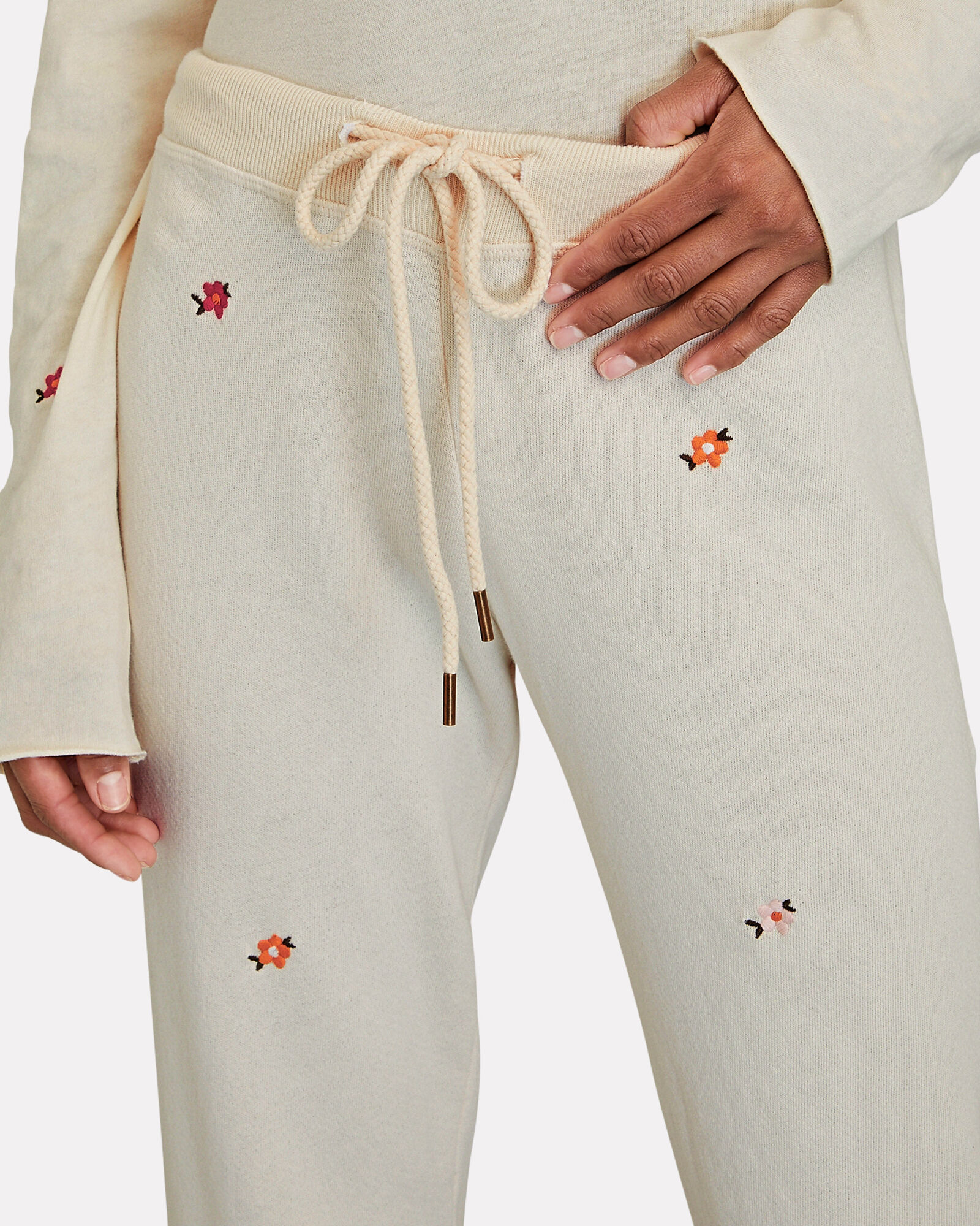 The Cropped Floral Embroidery Joggers, IVORY, hi-res