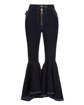 Ruffled Flare Crop Jeans, NAVY, hi-res
