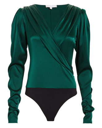 Emerald Green Crossfront Bodysuit, EMERALD, hi-res