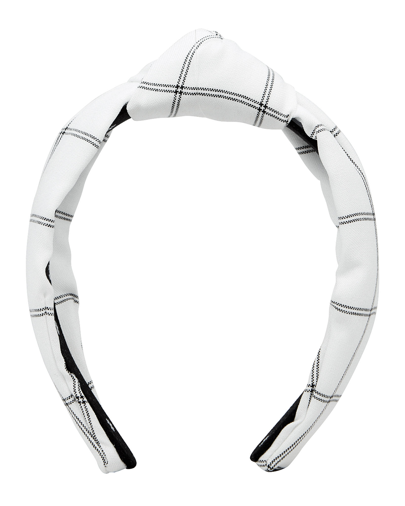 Checked Knotted Silk Headband, IVORY/CHECK, hi-res