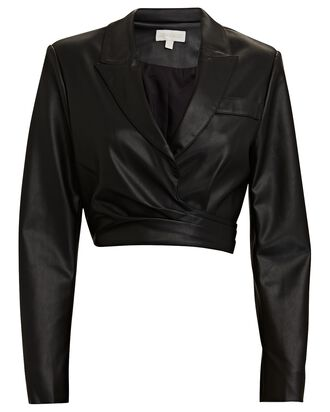 Lilo Vegan Leather Wrap Blazer, BLACK, hi-res