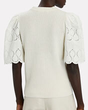 Nadene Eyelet-Trimmed Sweater, WHITE, hi-res