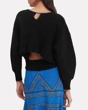 Curb Chain Embellished Sweater, BLACK, hi-res