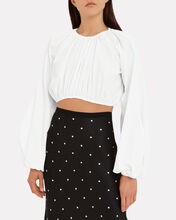 Milan Poplin Crop Top, WHITE, hi-res