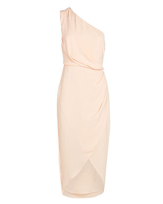 Agnes One-Shoulder Crepe Midi Dress, PINK, hi-res