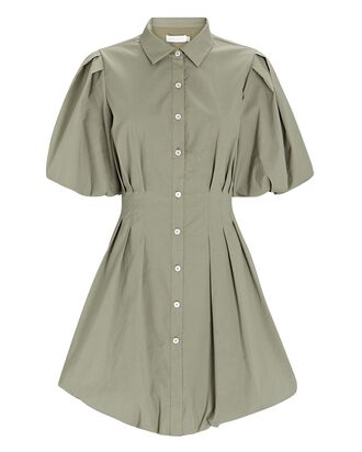 Cleo Pleated Poplin Shirt Dress, PALE OLIVE, hi-res