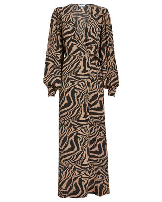 Zebra Crepe Wrap Dress, BEIGE/ZEBRA PRINT, hi-res