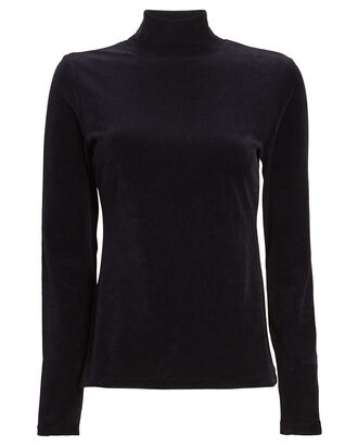 Stretch Corduroy Turtleneck Top, NAVY, hi-res