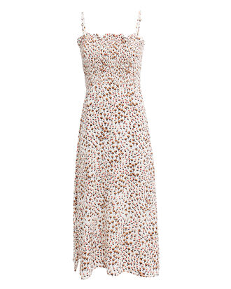 Solange Midi Dress, WHITE/BROWN FLORAL, hi-res