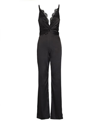 Lace-Trimmed Wide-Leg Jumpsuit, BLACK, hi-res