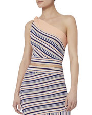 Ibis Striped One Shoulder Top, PATTERN, hi-res