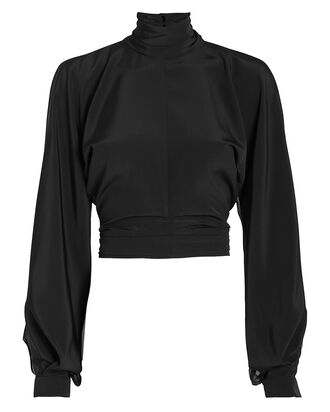 High Neck Billowing Sleeve Blouse, BLACK, hi-res