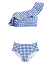 Jewett One Shoulder Bikini, BLUE/WHITE, hi-res
