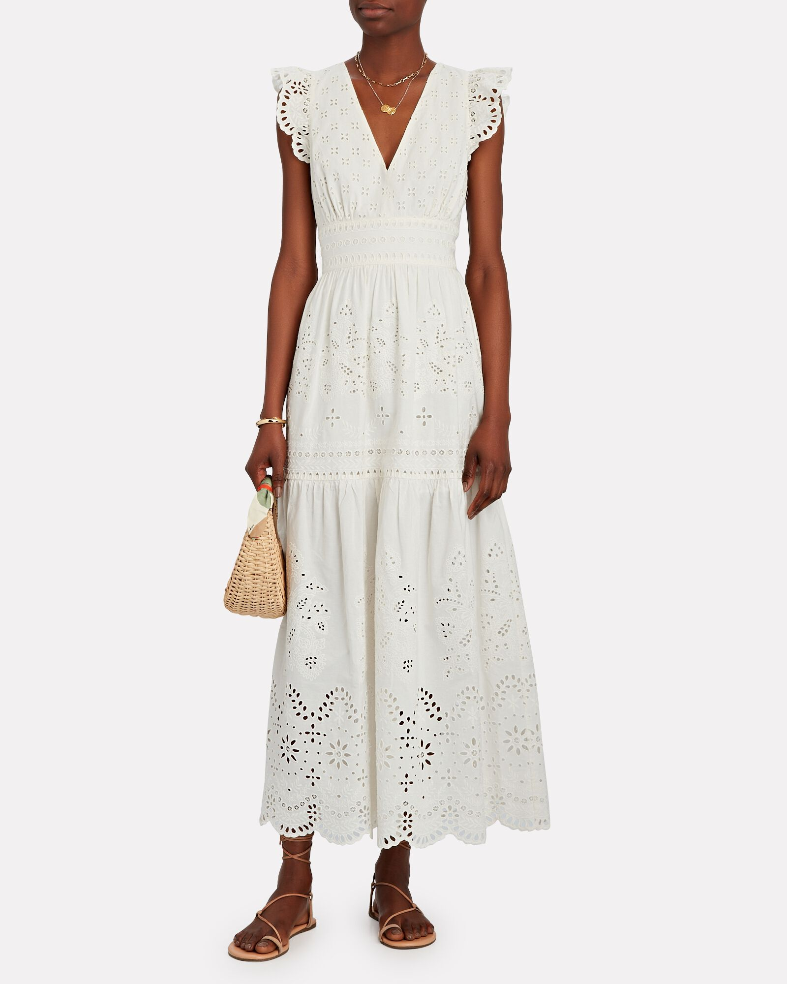 Greer Organic Cotton Midi Dress, WHITE, hi-res