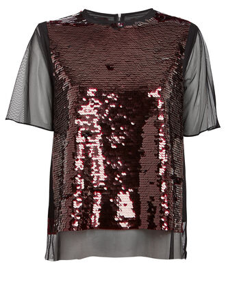 Mesh Seam Sequin Blouse, BLACK/BORDEAUX, hi-res