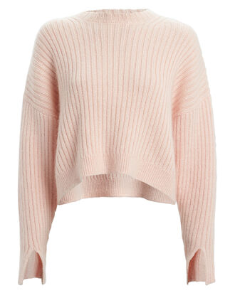 Rib Knit Wool & Mohair Sweater, PALE PINK, hi-res