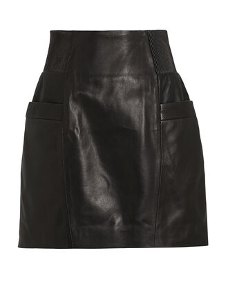 Leather High-Rise Mini Skirt, BLACK, hi-res