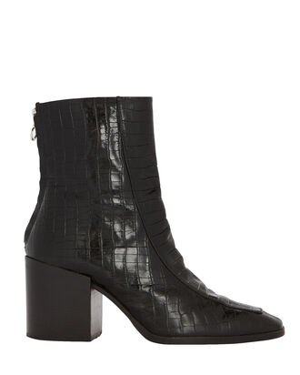 Lidia Croc-Embossed Booties, BLACK, hi-res