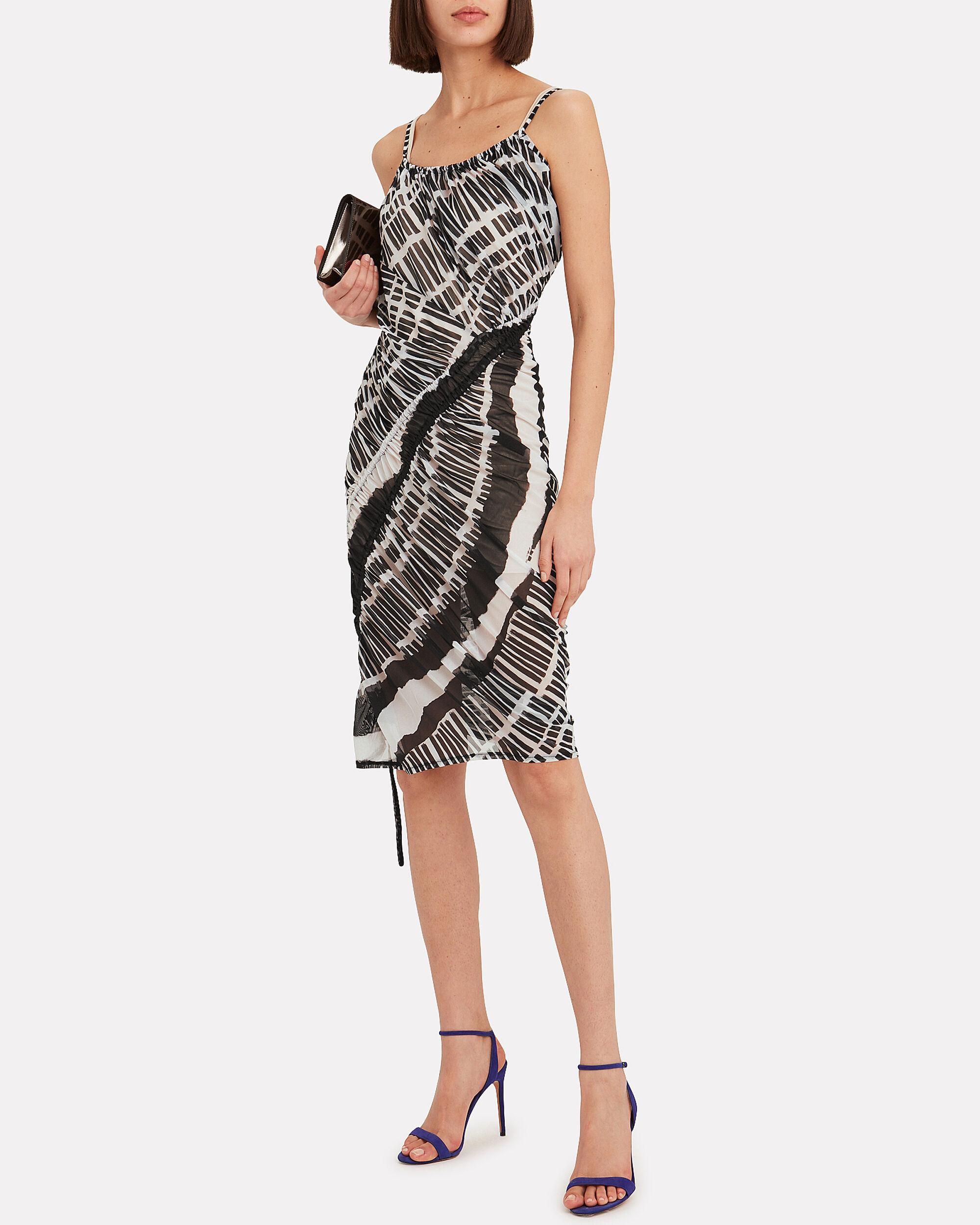 Stretch Jersey Tulle Dress, BLK/WHT, hi-res