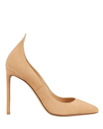 Point Back Beige Suede Pumps, BEIGE, hi-res