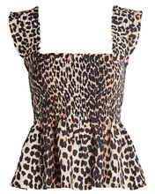 Smocked Leopard Tank Top, MULTI, hi-res
