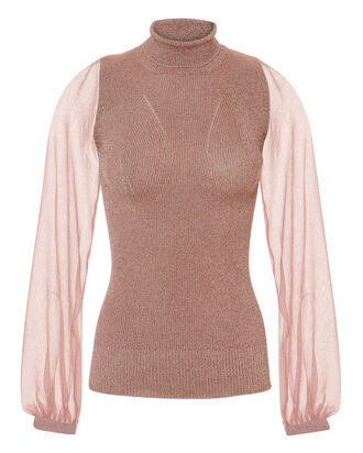 Lurex Pink Turtleneck, PINK, hi-res