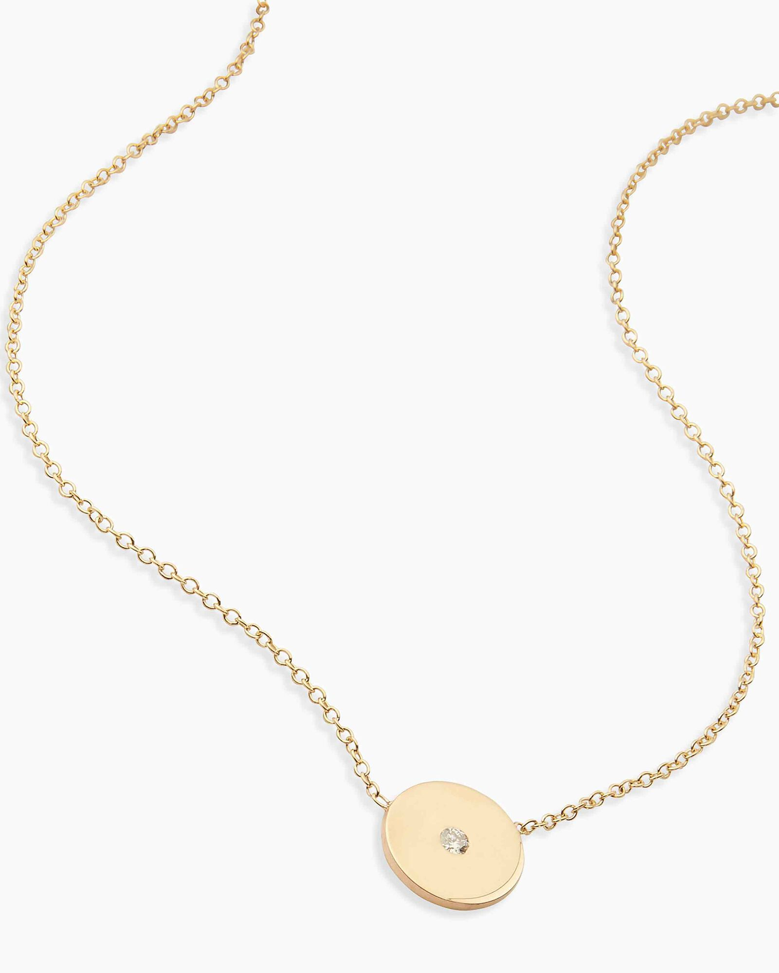 Small Diamond Disc Pendant Necklace, GOLD, hi-res