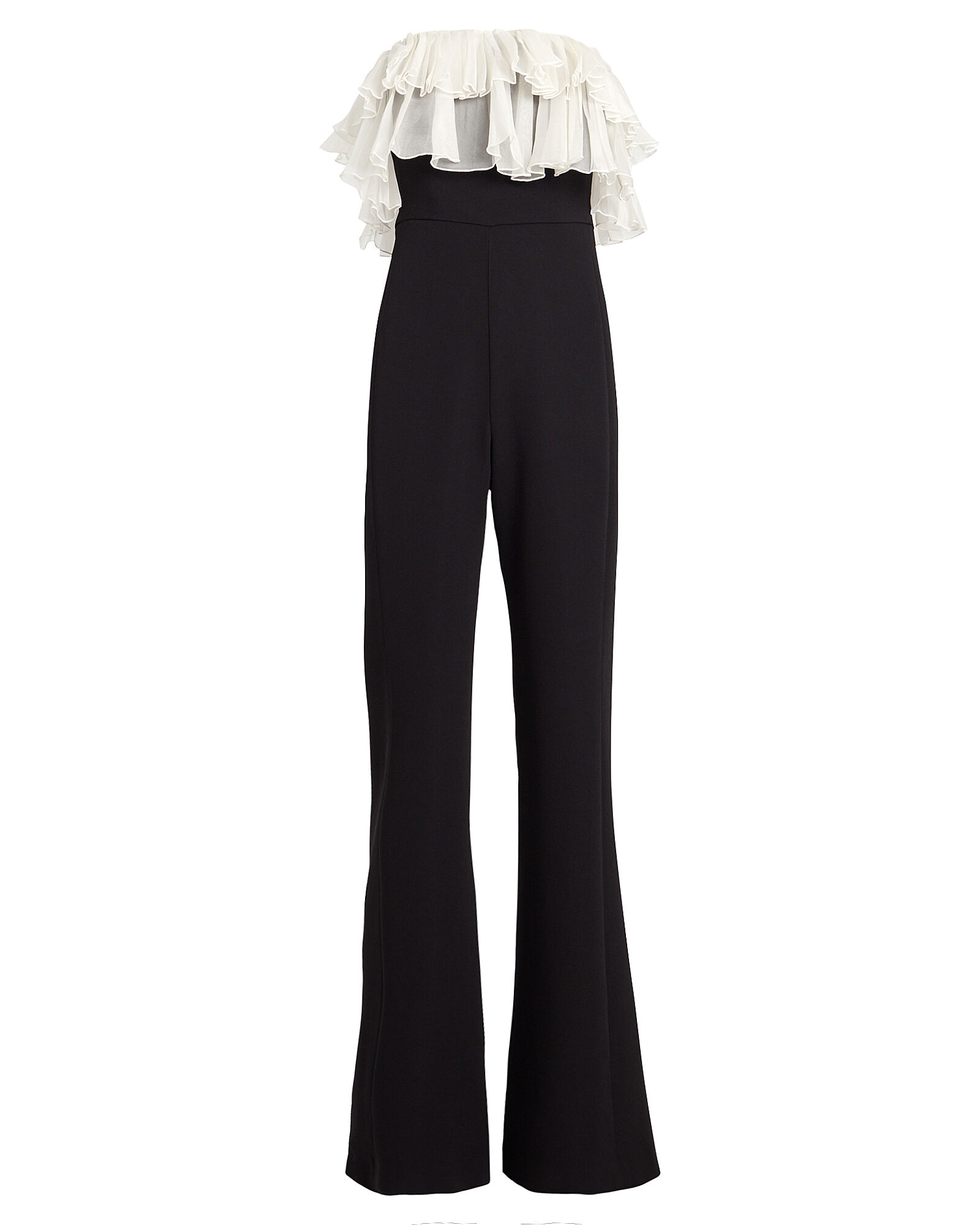 Kaiya Ruffled Flared Cady Jumpsuit, BLACK, hi-res