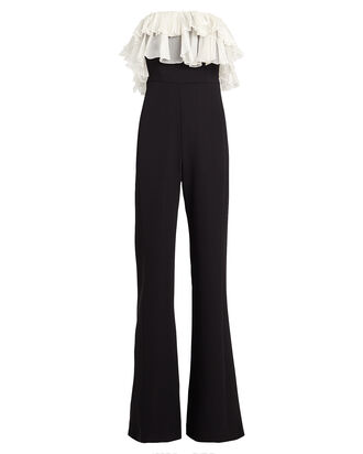 Kaiya Ruffled Flared Cady Jumpsuit, BLACK/WHITE, hi-res
