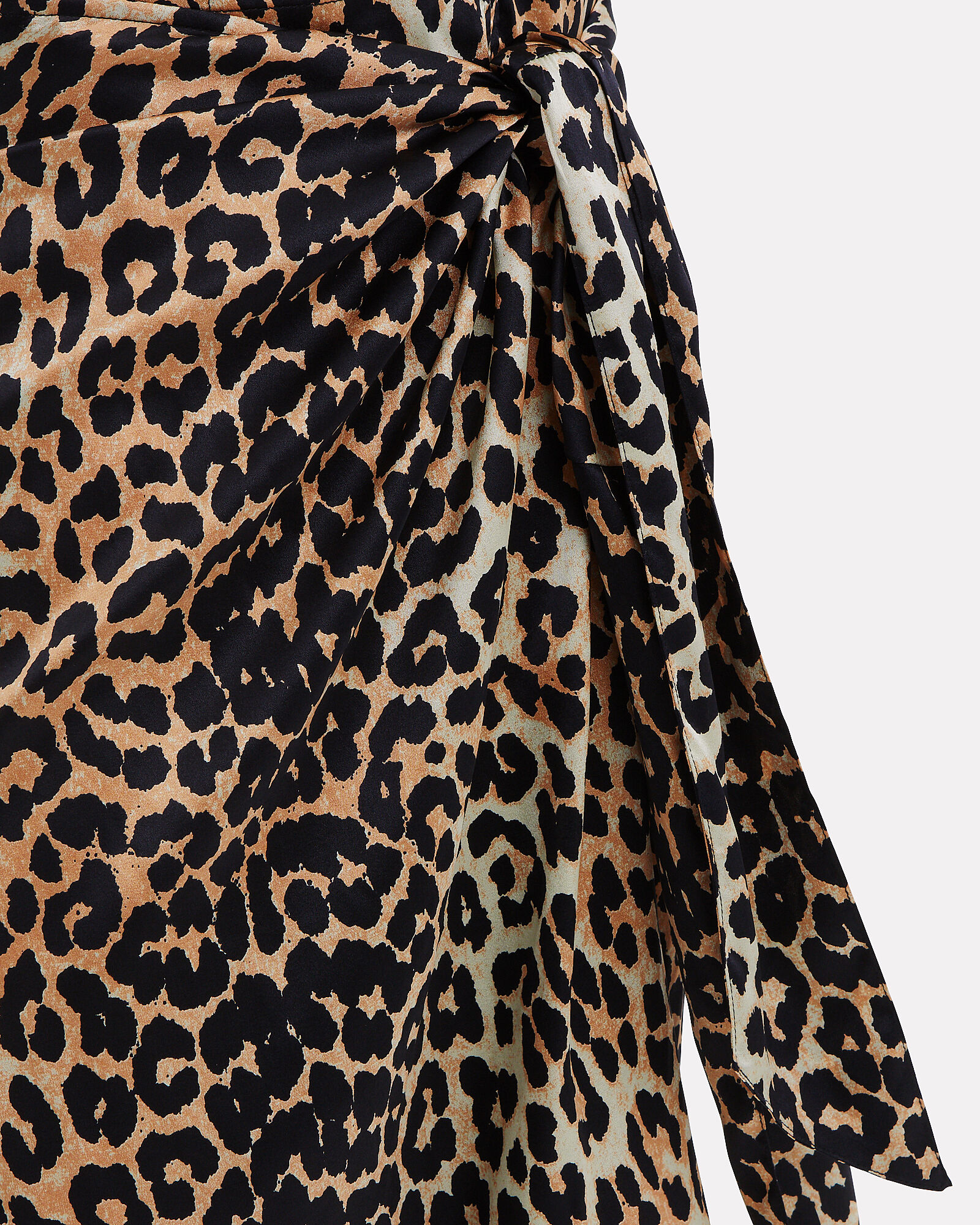 Knotted Leopard Print Silk Skirt, MULTI, hi-res