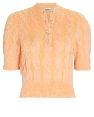Mohair-Blend Cable Knit Sweater, PINK, hi-res
