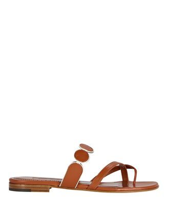 Harisa Flat Leather Sandals, BROWN, hi-res