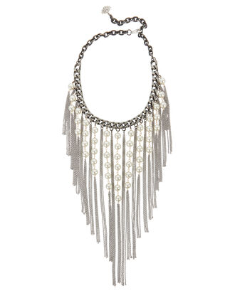 Pearl Fringe Necklace, METALLIC, hi-res