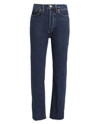 High-Rise Stove Pipe Comfort Stretch Jeans, DARK BLUE DENIM, hi-res