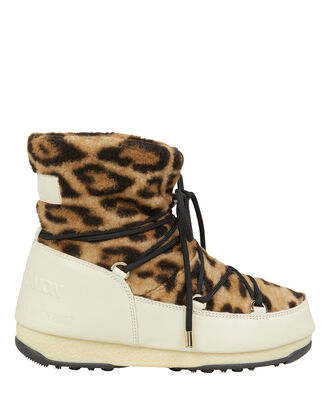 Leopard Shearling Moon Boots, BROWN, hi-res