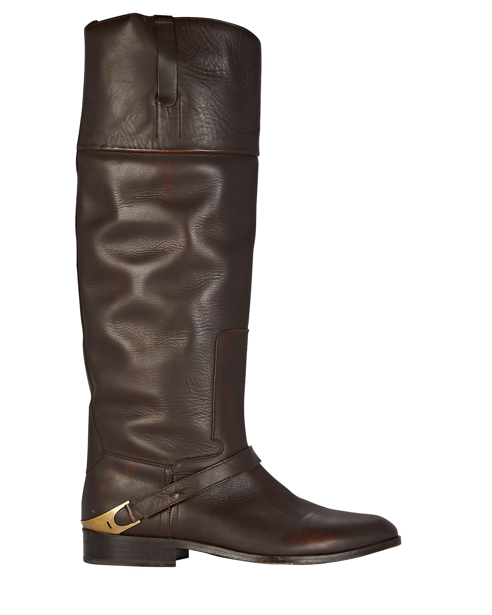 Charlie Knee-High Leather Boots, BROWN, hi-res