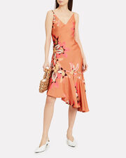 Carmen Asymmetric Slip Dress, ORANGE/FLORAL, hi-res