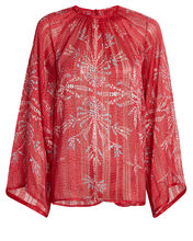 Paula Printed Chiffon Blouse, RED, hi-res