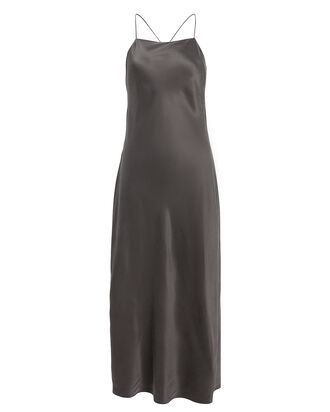 90's Long Silk Slip Dress, GREY, hi-res