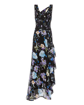 Ruffle Tiered Floral Maxi Dress, BLACK, hi-res