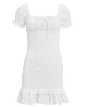 Cette Smocked Linen Dress, WHITE, hi-res