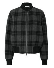 Tonal Plaid Bomber Jacket, BLACK, hi-res
