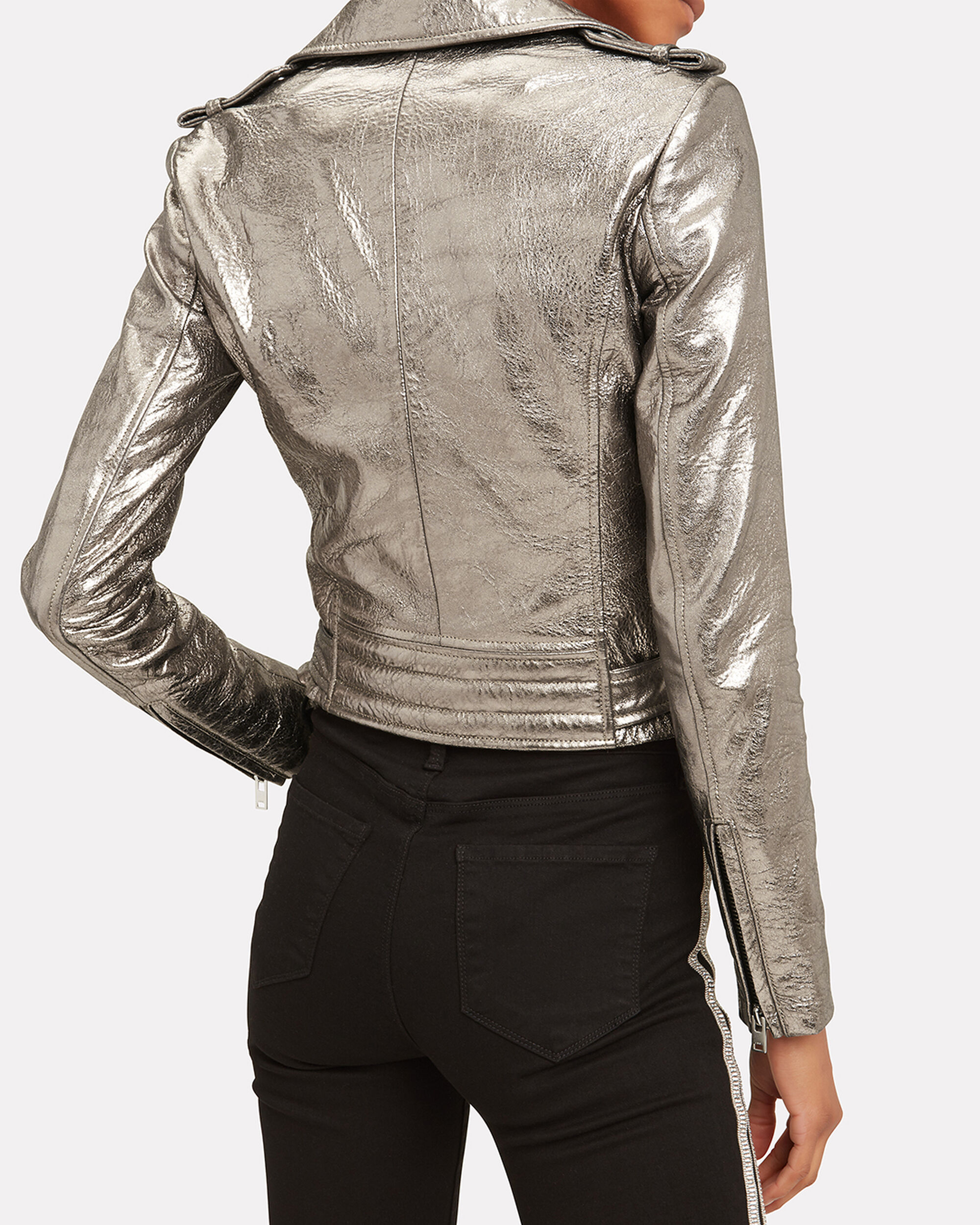 Dylan Metallic Leather Jacket, SILVER, hi-res